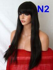 Dark Brown Wig real natural look long straight fringe WOMEN LADIES HAIR WIG N2