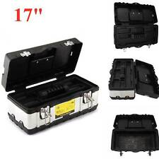 Heavy Duty Stainless Steel Tool Box Chest Storage Case + Removable Tray 17 Inch
