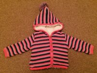 Next Striped Multi Coloured Padded Jacket Fluffy Inside Hood 9-12 Months B7