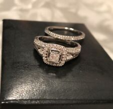 100% Genuine W/gold Wedding And  Engagement Ring  Set 14k Val. Cert. Of 4650