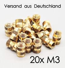 M3 20xStück Gewindeeinsatz Gewinde 3D-Druck Einpressmutter  PLA, PETG, ASA, ABS