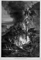 FOREST FIRES IN WISCONSIN 1886 ANTIQUE ENGRAVING FOREST FIRE HISTORY