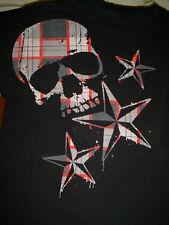 Plaid Red Gray Black Scull Stars Gothic Goth Biker T Shirt-M