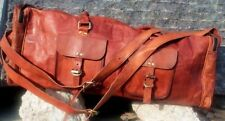 """30"""" Large Brown Vintage Genuine Leather Goathide Travel Luggage Duffle Gym Bags"""