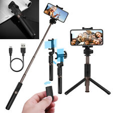 Foldable Bluetooth Extendable Selfie Stick Tripod Remote 360° Clamp IOS Android Black