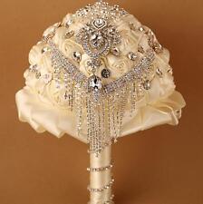 Luxury Ivory Satin Rose Flower Tassel Wedding Bridal Bouquet Crystal Brooch