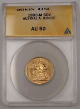 1893-M Australia Sovereign Gold Coin Jubilee ANACS AU-50