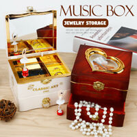 VINTAGE Style Music Box Rotate Ballerina Dancing Girl Jewelry Storage Box Mirror