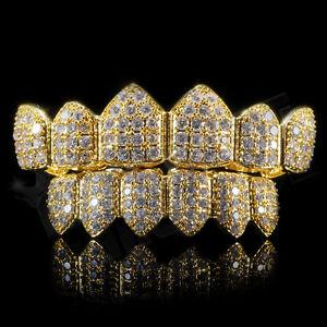 18K Gold Plated CZ Cluster Custom Slugs Top Bottom GRILLZ Mouth Teeth Grills Set
