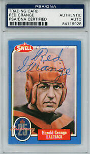 Red Grange Autographed/Signed 1988 Swell #42 Trading Card PSA Slab 32999