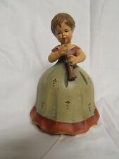 Rare Vintage Anri Music Box Girl With Flute Wooden Figurine, Plays Lara's Theme