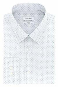 Calvin Klein Men's Collared Non Iron Printed Dress Shirt (Cornflower,18X34-35)