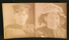 Vintage 1911 Unusual Photos 17 year old in Military Uniform & Girls Hat  #3378