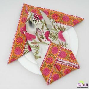 Pink & Yellow India Block Print Floral 100% Cotton Fabric Napkins Set RCNB3