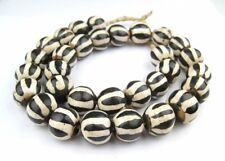 Zebra Batik Bone Beads Sphere 25mm Kenya African Black and White Round Handmade