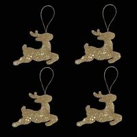 4 Pack 9cm Glitter Reindeer Christmas Tree Hanging Decoration - GOLD