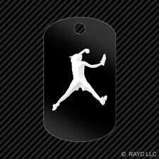 Softball Pitcher Keychain GI dog tag engraved many colors
