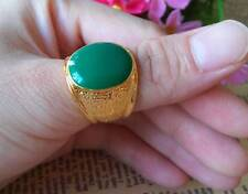 Nice Men's 18K Yellow Gold Plated Green Ring  Size #9