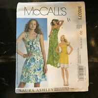 McCalls M6071 Sewing Pattern Laura Ashley Misses Dress In 2 Lengths Sz 12-18 NOS