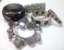 Wide Bangle bracelet with lace, bulky rhinestone charm bracelet, pale green +