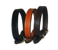 Strong European Leather dog collar with solid brass fittings
