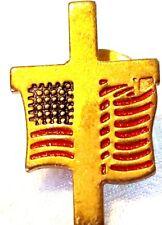 New listing Retro 1� Brass Cross Usa Flag Pin