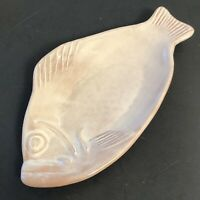 """THORA Vintage SNAPPER FISH White TERRACOTTA Pottery Serving TRAY 11"""" OVENWARE"""