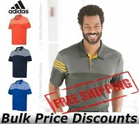 Adidas Heather 3-Stripes Block Sport Shirt Polo Button A213 up to 3XL
