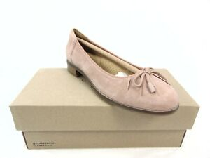 Clarks Trish Rhea Women's Rose Suede Slip On Bow Detail Loafers Size 7 W 54380
