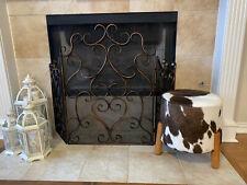 HandMade Brazilian Genuine Cowhide Round Wood Foot Pouf Ottoman Footstool Bench
