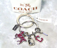 "NEW Coach Charm KEY CHAIN Double Ring Silver Key Lock Walking Horse ""C"" Fob NWT"