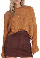 BILLABONG Women's Tan Waffle Knit Crop Sweater Size LARGE