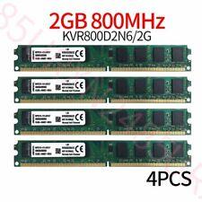 Kingston 8GB Kit 4x 2GB PC2-6400U DIMM DDR2 800MHz Desktop Intel Memory RAM ZT