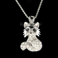 "~White Fox~ made with Swarovski crystal Wildlife Animal Charm 18"" Chain Necklace"