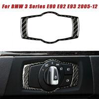 Carbon Fiber Headlight Switch Panel Frame Trim For BMW 3Series E90 E92 E93 05-12