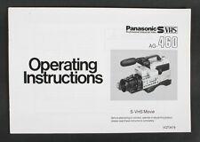 PANASONIC AG-460 S-VHS MOVIE INSTRUCTIONS MANUAL