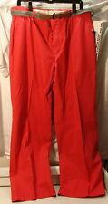 Vintage 80s Deadstock Pink Cotton-Blend Belt Pants Mens 38/30 ~ New 1980s