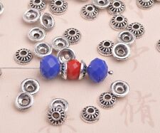 50pcs 8mm Tibetan Silver Bead Caps Charms Round Spacer Beads Jewelry Findings