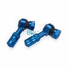 BLUE 90 Degree CNC Motorcycle Valve Stems Tire 10mm Pair 11.3mm Rim Wheel