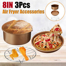"""3Pcs 7"""" Air Fryer Accessories Set BBQ Chips Pizza Pan Baking Tray For 3.2-5.8QT"""