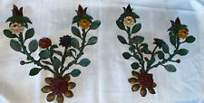 """Pair of Vintage Tole Painted  Flower 2 Candle Wall Sconces - Italy, 13"""""""