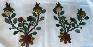 Pair of Vintage Tole Painted  Flower 2 Candle Wall Sconces - Italy, 13""