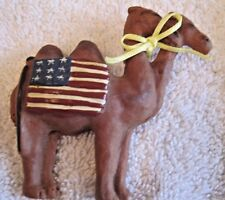 Remember Double Camel Pin Back w American Flag & Yellow Ribbon around Neck