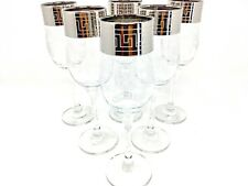 Crystal Glass Set of 6 Champagne Flute Wine Glasses 7 oz Silver Greek Design