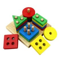 Holzspielzeug Steckspiel Geometrische Formen Motorikspielzeug Denkspielzeug Ne