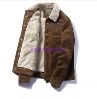 Winter Mens Fur Lined Fleece Lining Lamb Fur Collar corduroy Coat Outwear Jacket