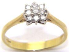 Mujer Mujer 18 Quilates 18ct Oro Amarillo Anillo Pedida Diamante Cluster talla n