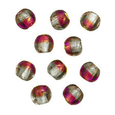 Silver Lined Pink/Orange/Clear Glass Beads 10mm Pack of 10 (B95/11)