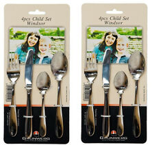 2 x Grunwerg Windsor Stainless Steel 4 Piece Children/Kids Cutlery Set Gift New