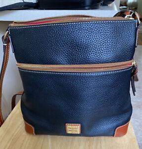 Dooney & Bourke Pebble Grain Crossbody Shoulder Bag Dark Navy & Brown Leather VG